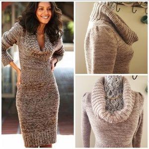 MODA INTERNATIONAL Cowl Neck Midi Sweater Dress